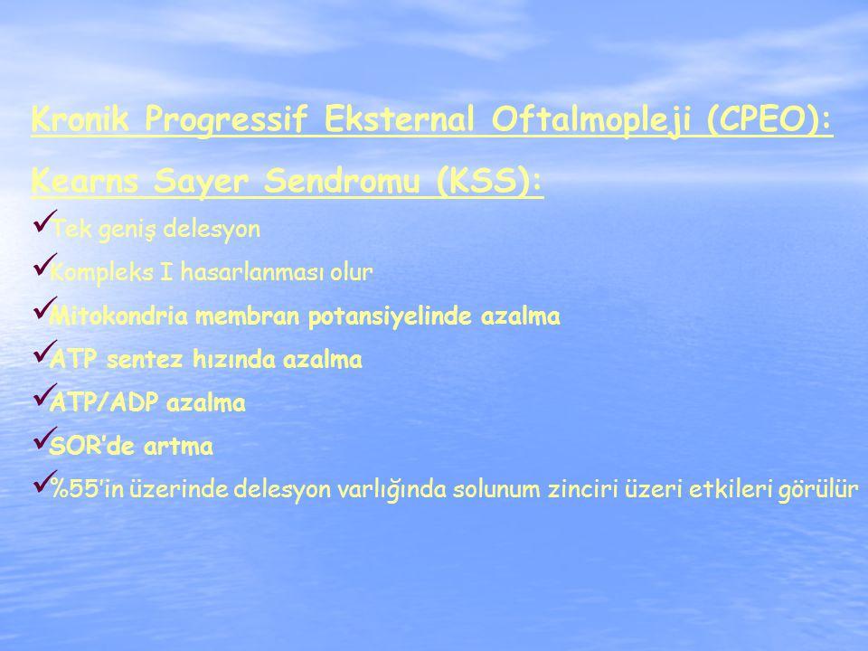 Kronik Progressif Eksternal Oftalmopleji (CPEO): Kearns Sayer Sendromu (KSS): Tek geniş delesyon Kompleks I hasarlanması olur Mitokondria membran potansiyelinde azalma ATP sentez hızında azalma ATP/ADP azalma SOR'de artma %55'in üzerinde delesyon varlığında solunum zinciri üzeri etkileri görülür