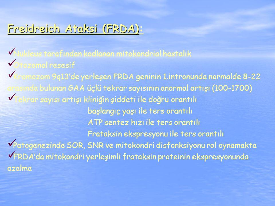 Freidreich Ataksi (FRDA) Freidreich Ataksi (FRDA): Nukleus tarafından kodlanan mitokondrial hastalık Otozomal resesif Kromozom 9q13'de yerleşen FRDA geninin 1.intronunda normalde 8-22 arasında bulunan GAA üçlü tekrar sayısının anormal artışı (100-1700) Tekrar sayısı artışı kliniğin şiddeti ile doğru orantılı başlangıç yaşı ile ters orantılı ATP sentez hızı ile ters orantılı Frataksin ekspresyonu ile ters orantılı Patogenezinde SOR, SNR ve mitokondri disfonksiyonu rol oynamakta FRDA'da mitokondri yerleşimli frataksin proteinin ekspresyonunda azalma