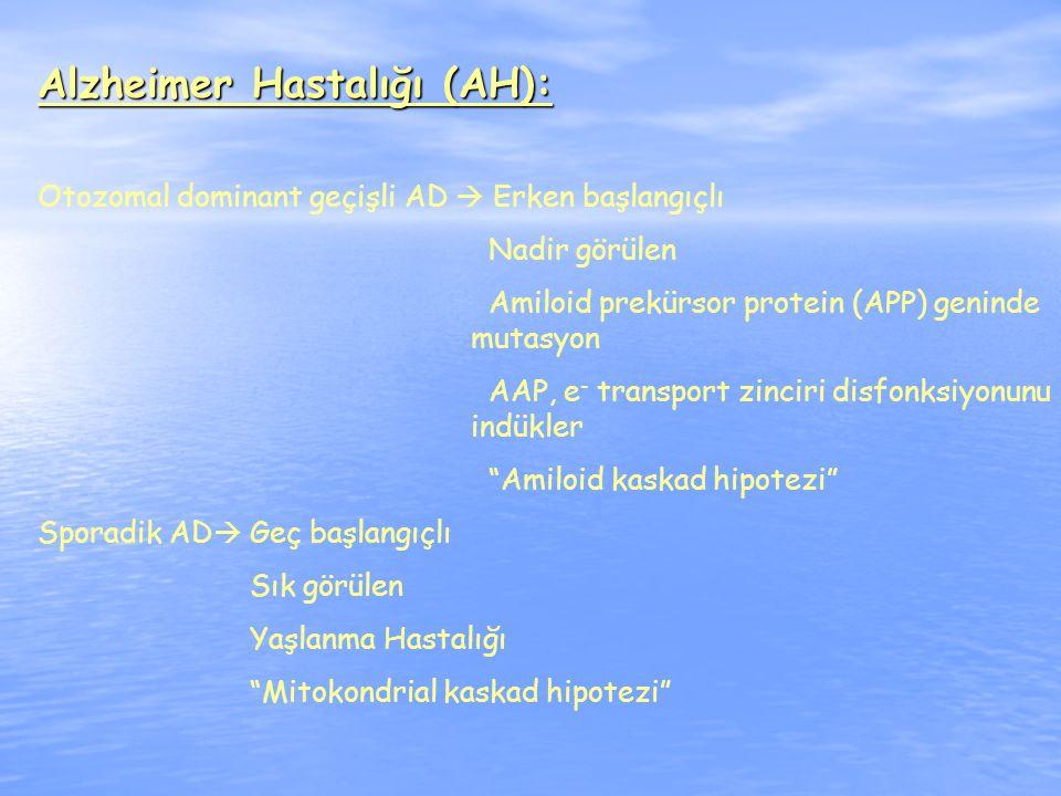 Alzheimer Hastalığı (AH): Otozomal dominant geçişli AD  Erken başlangıçlı Nadir görülen Amiloid prekürsor protein (APP) geninde mutasyon AAP, e - transport zinciri disfonksiyonunu indükler Amiloid kaskad hipotezi Sporadik AD  Geç başlangıçlı Sık görülen Yaşlanma Hastalığı Mitokondrial kaskad hipotezi