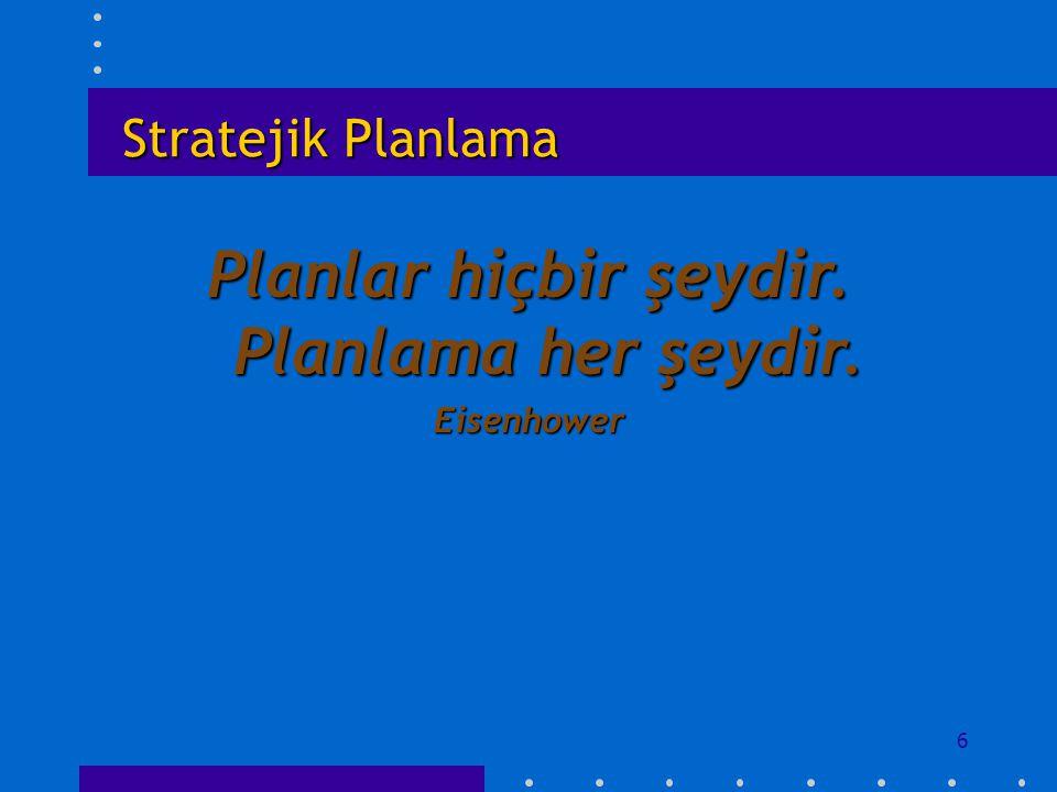 Stratejik Planlama Planlar hiçbir şeydir. Planlama her şeydir. Eisenhower 6