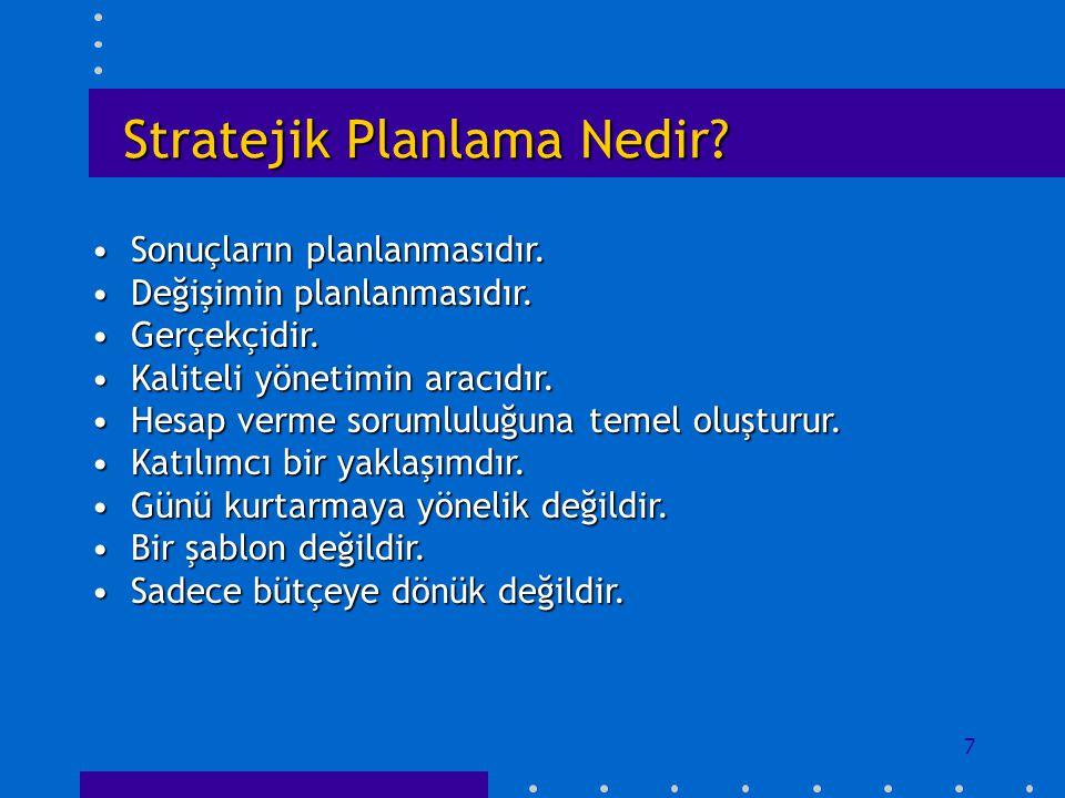 7 Stratejik Planlama Nedir? Sonuçların planlanmasıdır.Sonuçların planlanmasıdır. Değişimin planlanmasıdır.Değişimin planlanmasıdır. Gerçekçidir.Gerçek