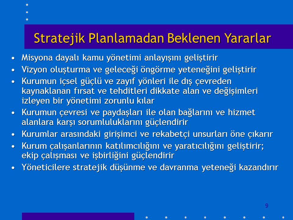 9 Stratejik Planlamadan Beklenen Yararlar Misyona dayalı kamu yönetimi anlayışını geliştirirMisyona dayalı kamu yönetimi anlayışını geliştirir Vizyon