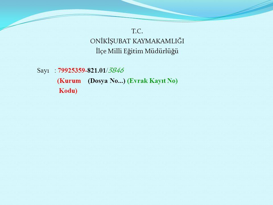 T.C. ONİKİŞUBAT KAYMAKAMLIĞI İlçe Milli Eğitim Müdürlüğü Sayı : 79925359-821.01/ 3846 (Kurum (Dosya No...) (Evrak Kayıt No) Kodu)