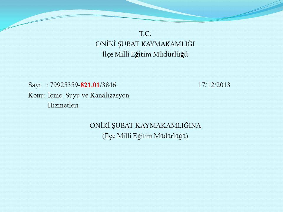 T.C. ONİKİ ŞUBAT KAYMAKAMLIĞI İlçe Milli Eğitim Müdürlüğü Sayı : 79925359-821.01/3846 17/12/2013 Konu: İçme Suyu ve Kanalizasyon Hizmetleri ONİKİ ŞUBA