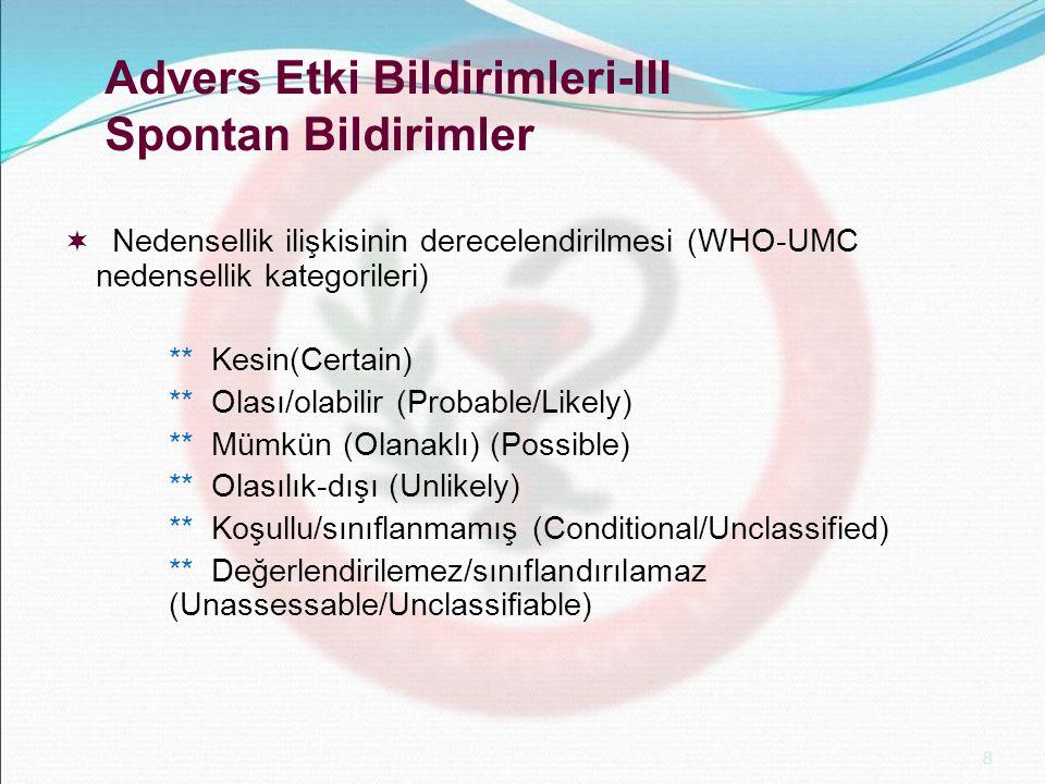 8 Advers Etki Bildirimleri-III Spontan Bildirimler  Nedensellik ilişkisinin derecelendirilmesi (WHO-UMC nedensellik kategorileri) ** Kesin(Certain) *
