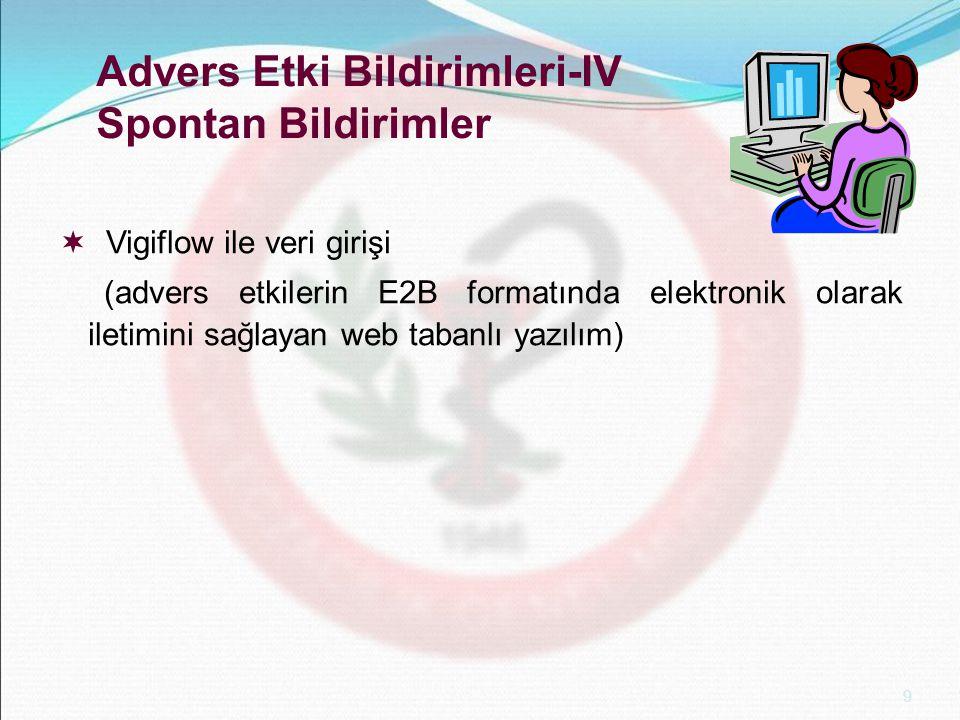 9 Advers Etki Bildirimleri-IV Spontan Bildirimler  Vigiflow ile veri girişi (advers etkilerin E2B formatında elektronik olarak iletimini sağlayan web