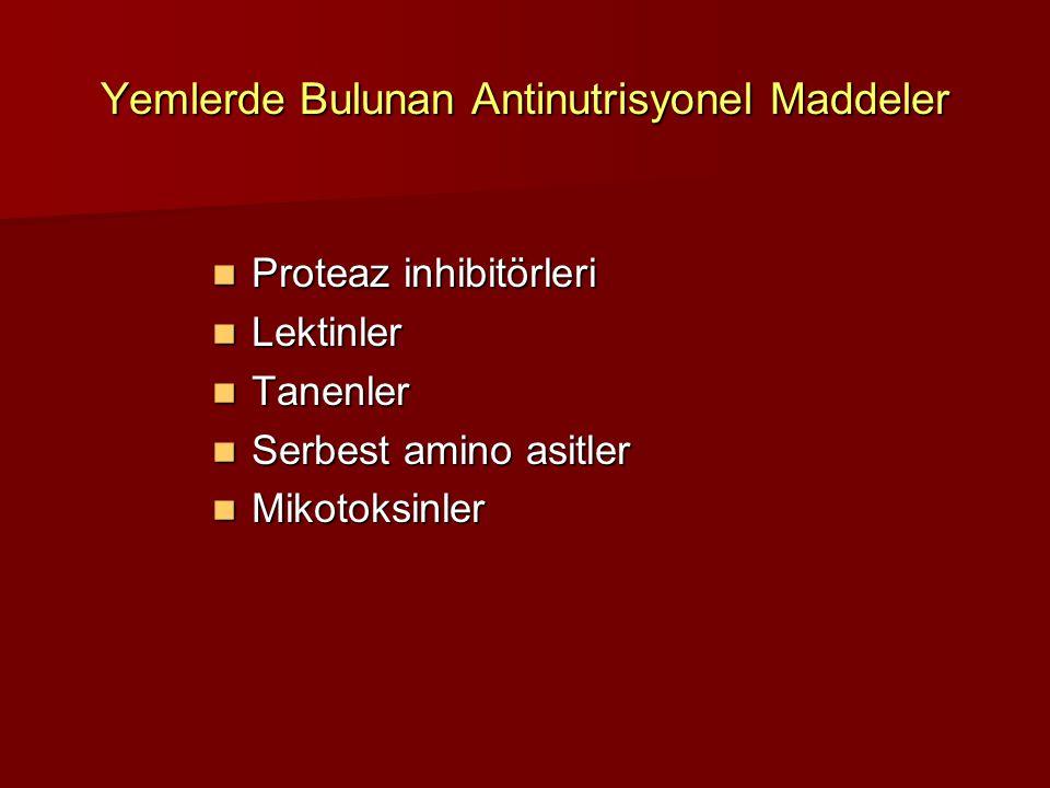 Yemlerde Bulunan Antinutrisyonel Maddeler Proteaz inhibitörleri Proteaz inhibitörleri Lektinler Lektinler Tanenler Tanenler Serbest amino asitler Serb