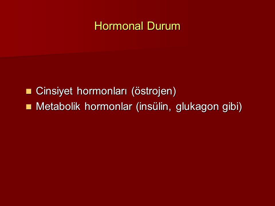 Hormonal Durum Cinsiyet hormonları (östrojen) Cinsiyet hormonları (östrojen) Metabolik hormonlar (insülin, glukagon gibi) Metabolik hormonlar (insülin