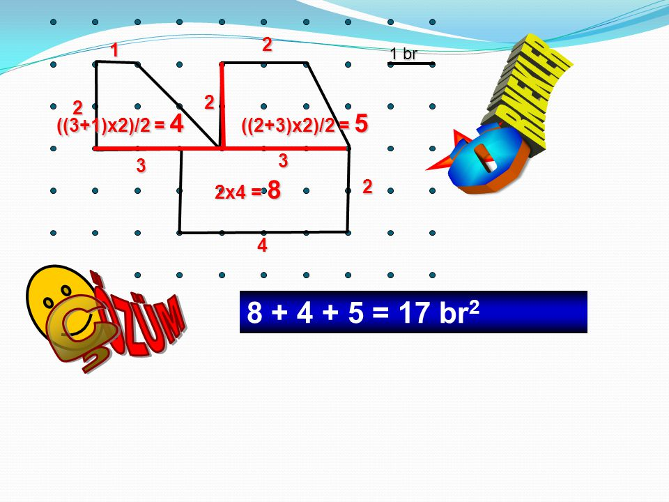 1 br 3 1 2 3 2 2 4 2 2x4 = 8 ((2+3)x2)/2 = 5 ((3+1)x2)/2 = 4 8 + 4 + 5 = 17 br 2