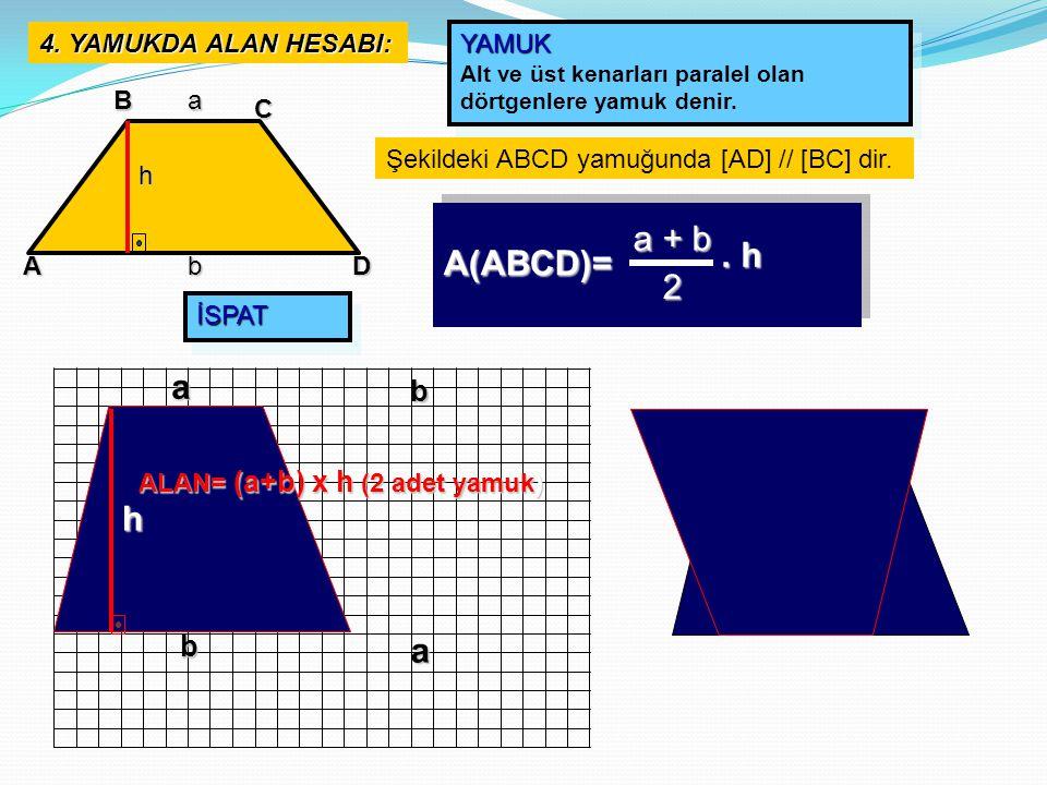 4. YAMUKDA ALAN HESABI: A B C D a b YAMUK Alt ve üst kenarları paralel olan dörtgenlere yamuk denir.YAMUK Şekildeki ABCD yamuğunda [AD] // [BC] dir. a
