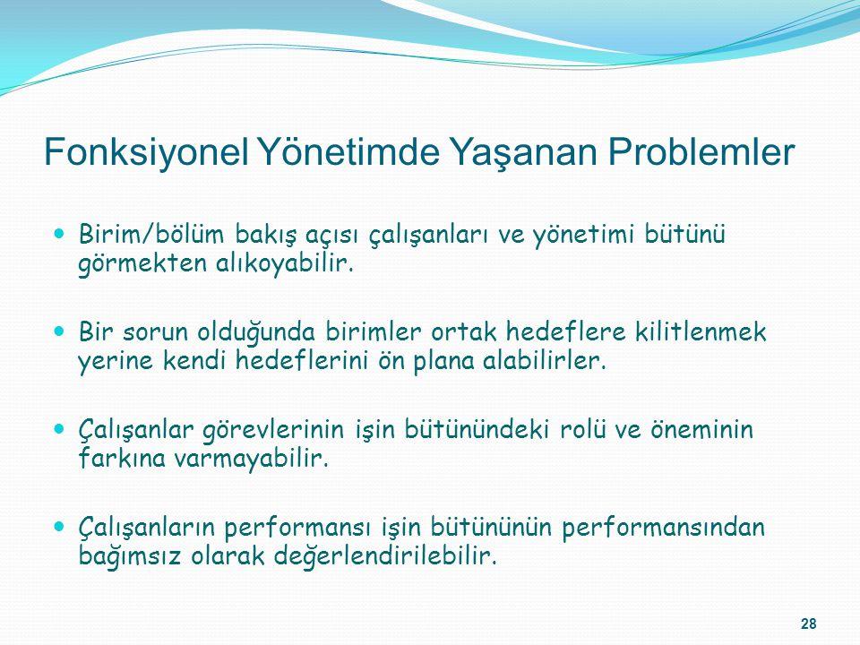 Fonksiyonel Yönetimde Yaşanan Problemler Birim/bölüm bakış açısı çalışanları ve yönetimi bütünü görmekten alıkoyabilir. Bir sorun olduğunda birimler o