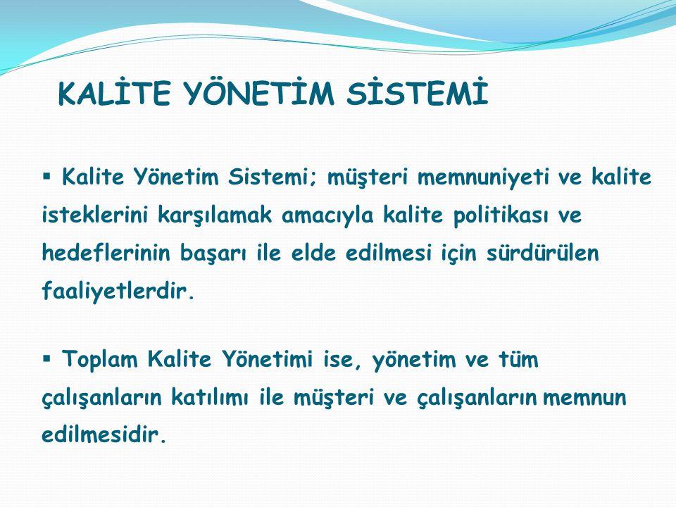  Kalite Yönetim Sistemi; müşteri memnuniyeti ve kalite isteklerini karşılamak amacıyla kalite politikası ve hedeflerinin başarı ile elde edilmesi içi