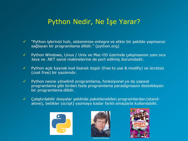 Python'da Döngü Yapıları (For Döngüsü) for x in range(baslangic,son,adim) yapısı >>> for i in range(0,10,2): print i 0 2 4 6 8 for s in string yapısı >>> for harf in Python : print 'Harf :', harf Harf : P Harf : y Harf : t Harf : h Harf : o Harf : n for item in list yapısı >>> yildizlar = ['rigel', 'betelgeuse', 'bellatrix'] >>> for yildiz in yildizlar: print 'Yildiz :', yildiz Yildiz : rigel Yildiz : betelgeus Yildiz : bellatrix