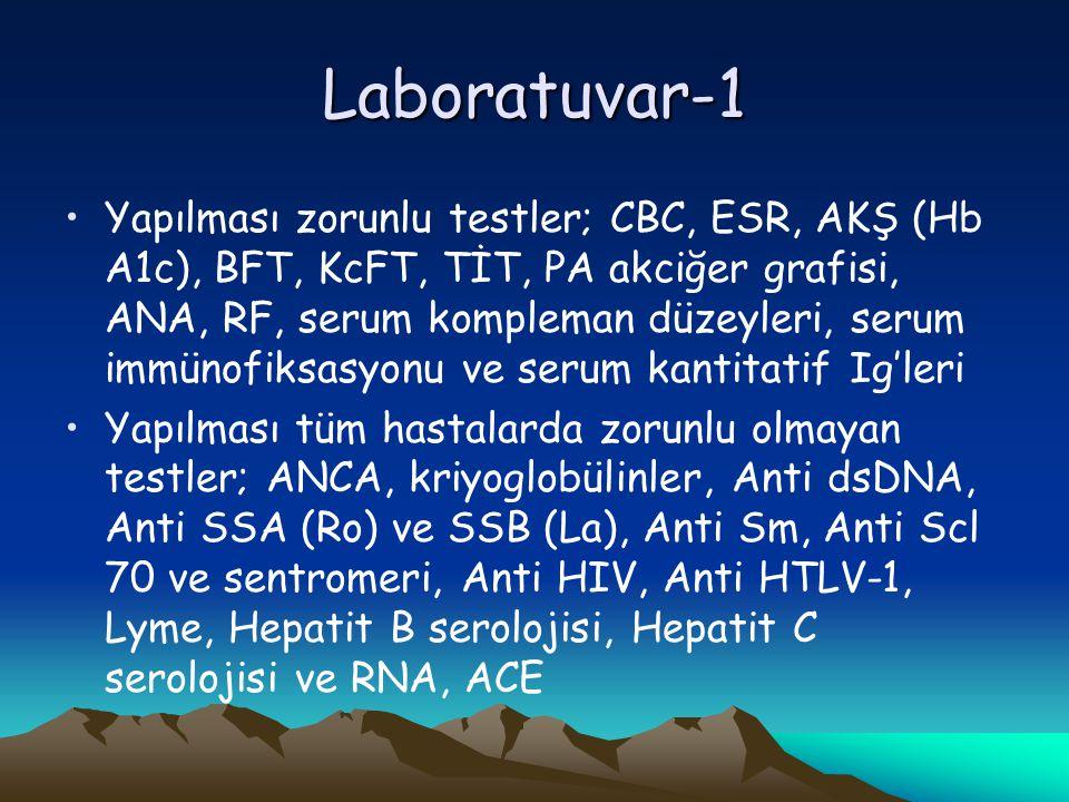Laboratuvar-1 Yapılması zorunlu testler; CBC, ESR, AKŞ (Hb A1c), BFT, KcFT, TİT, PA akciğer grafisi, ANA, RF, serum kompleman düzeyleri, serum immünofiksasyonu ve serum kantitatif Ig'leri Yapılması tüm hastalarda zorunlu olmayan testler; ANCA, kriyoglobülinler, Anti dsDNA, Anti SSA (Ro) ve SSB (La), Anti Sm, Anti Scl 70 ve sentromeri, Anti HIV, Anti HTLV-1, Lyme, Hepatit B serolojisi, Hepatit C serolojisi ve RNA, ACE