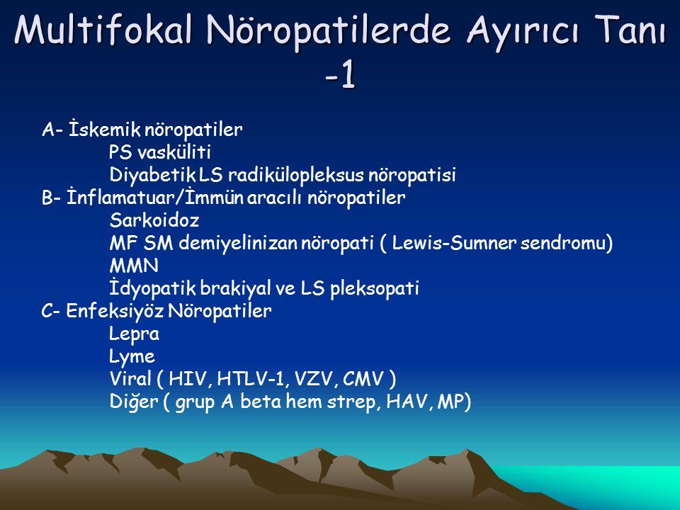 Multifokal Nöropatilerde Ayırıcı Tanı -1 A- İskemik nöropatiler PS vasküliti Diyabetik LS radikülopleksus nöropatisi B- İnflamatuar/İmmün aracılı nöropatiler Sarkoidoz MF SM demiyelinizan nöropati ( Lewis-Sumner sendromu) MMN İdyopatik brakiyal ve LS pleksopati C- Enfeksiyöz Nöropatiler Lepra Lyme Viral ( HIV, HTLV-1, VZV, CMV ) Diğer ( grup A beta hem strep, HAV, MP)