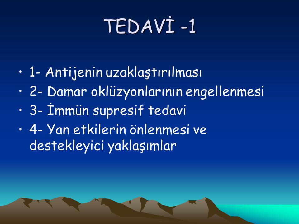 TEDAVİ -1 1- Antijenin uzaklaştırılması 2- Damar oklüzyonlarının engellenmesi 3- İmmün supresif tedavi 4- Yan etkilerin önlenmesi ve destekleyici yaklaşımlar
