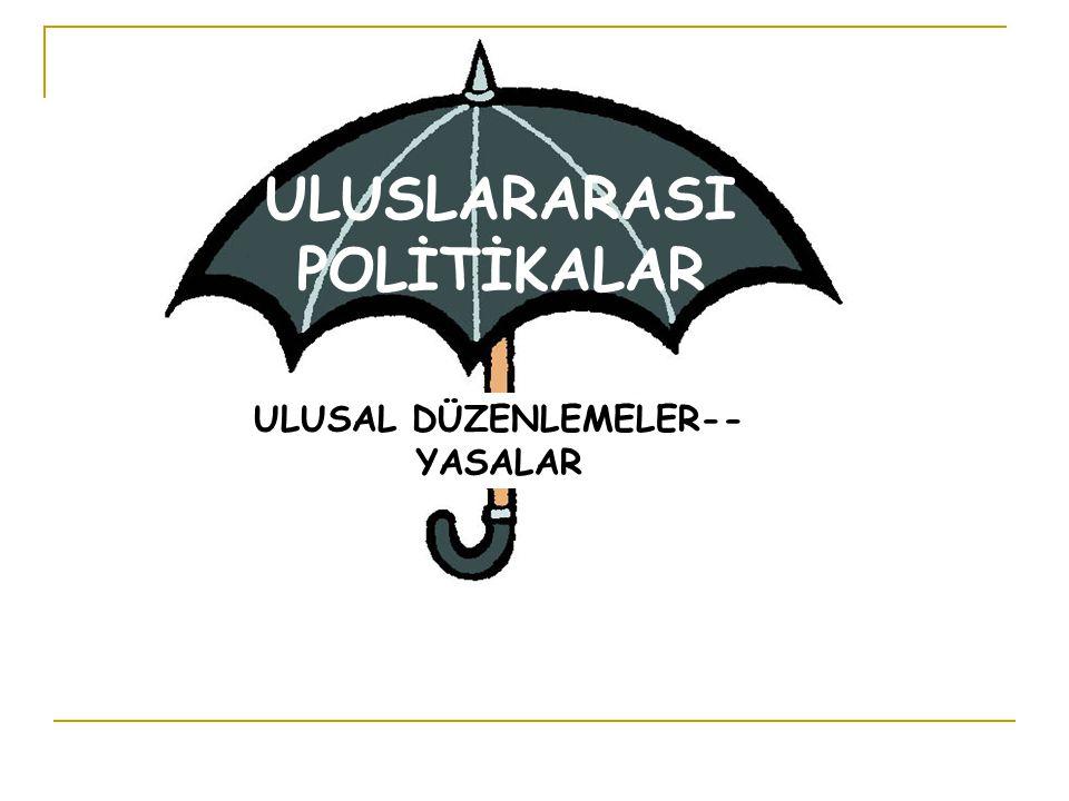 ULUSLARARASI POLİTİKALAR ULUSAL DÜZENLEMELER-- YASALAR
