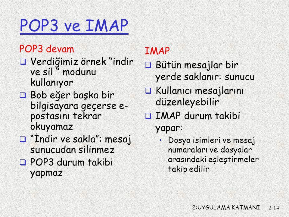 """2:UYGULAMA KATMANI2-14 POP3 ve IMAP POP3 devam  Verdiğimiz örnek """"indir ve sil """" modunu kullanıyor  Bob eğer başka bir bilgisayara geçerse e- postas"""