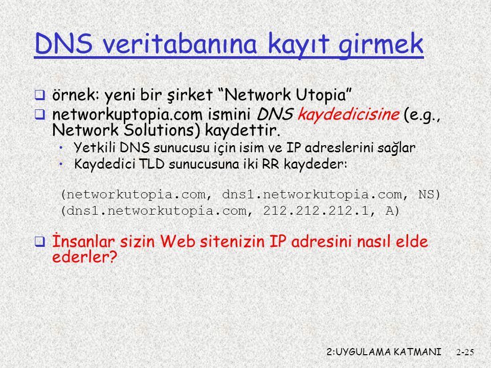 """2:UYGULAMA KATMANI2-25 DNS veritabanına kayıt girmek  örnek: yeni bir şirket """"Network Utopia""""  networkuptopia.com ismini DNS kaydedicisine (e.g., Ne"""