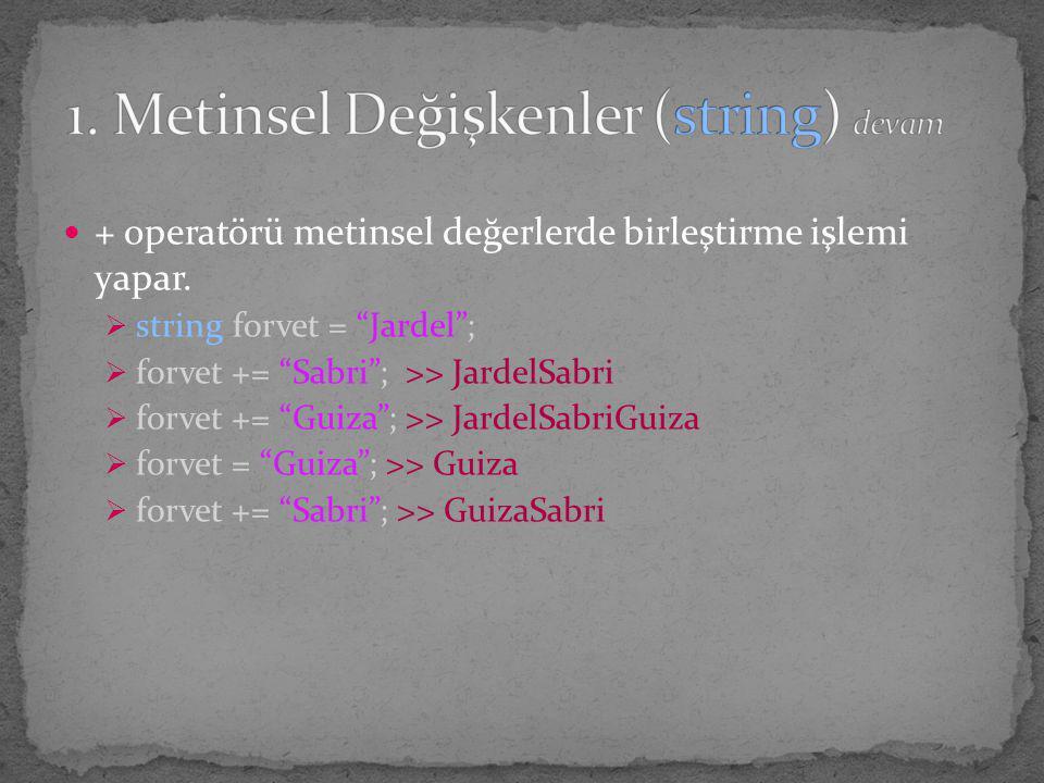 """+ operatörü metinsel değerlerde birleştirme işlemi yapar.  string forvet = """"Jardel"""";  forvet += """"Sabri""""; >> JardelSabri  forvet += """"Guiza""""; >> Jard"""