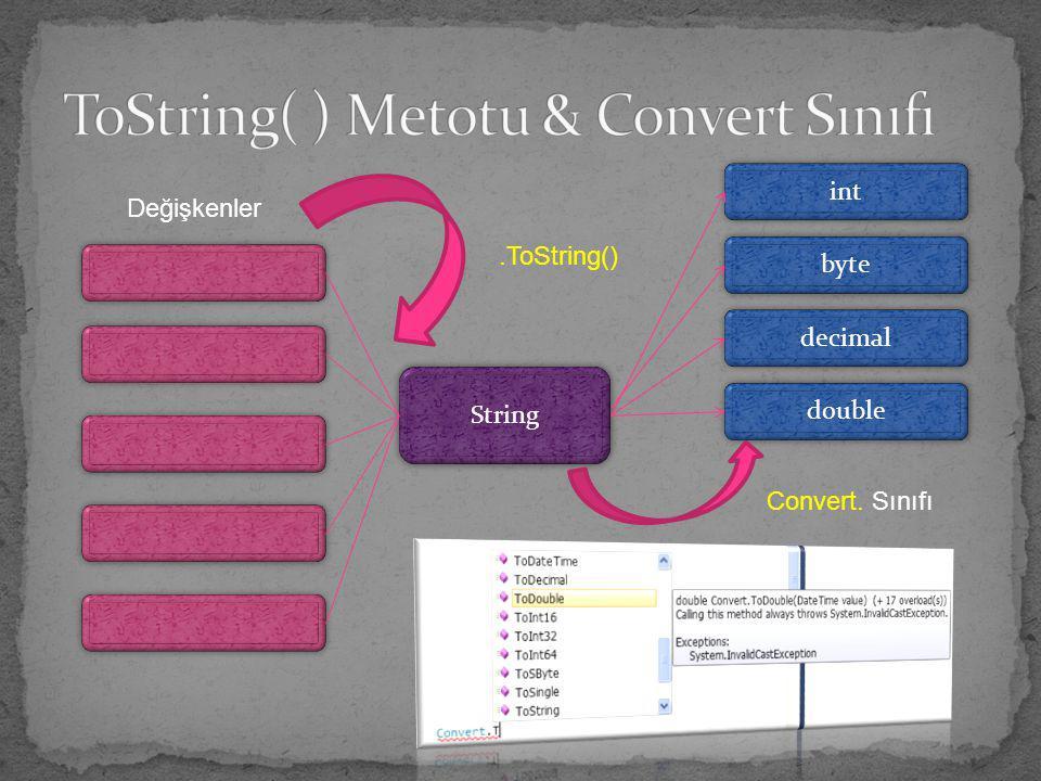 Değişkenler String int byte decimal double.ToString() Convert. Sınıfı