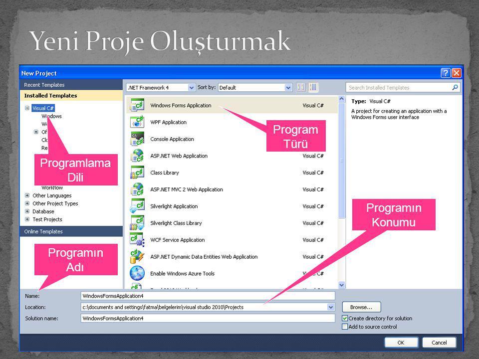 Programlama Dili Programın Adı Programın Konumu Program Türü