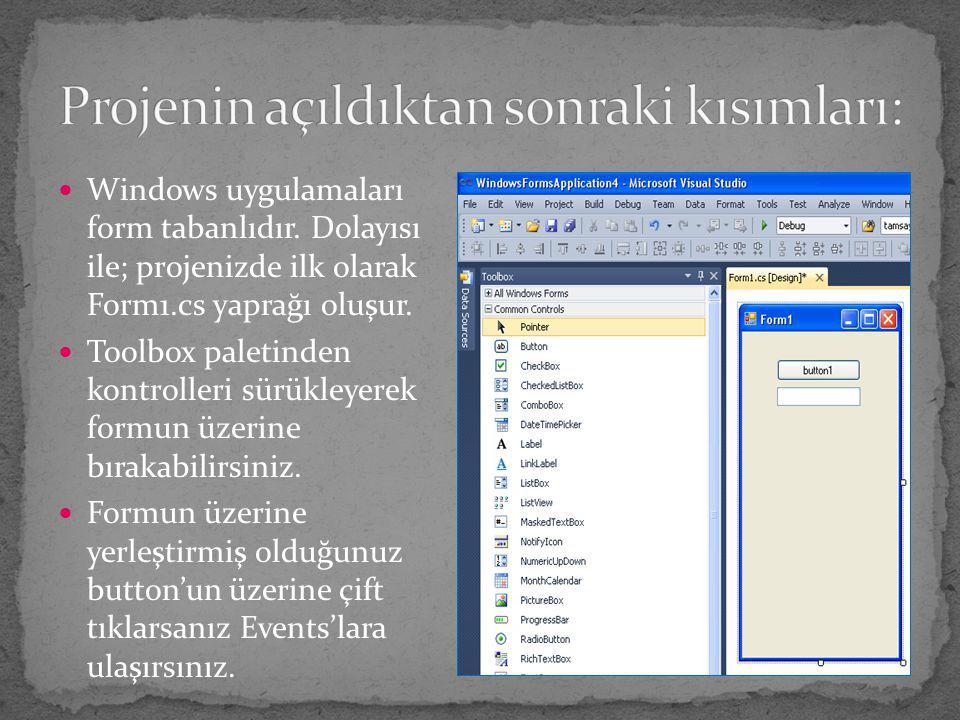 Windows uygulamaları form tabanlıdır. Dolayısı ile; projenizde ilk olarak Form1.cs yaprağı oluşur. Toolbox paletinden kontrolleri sürükleyerek formun