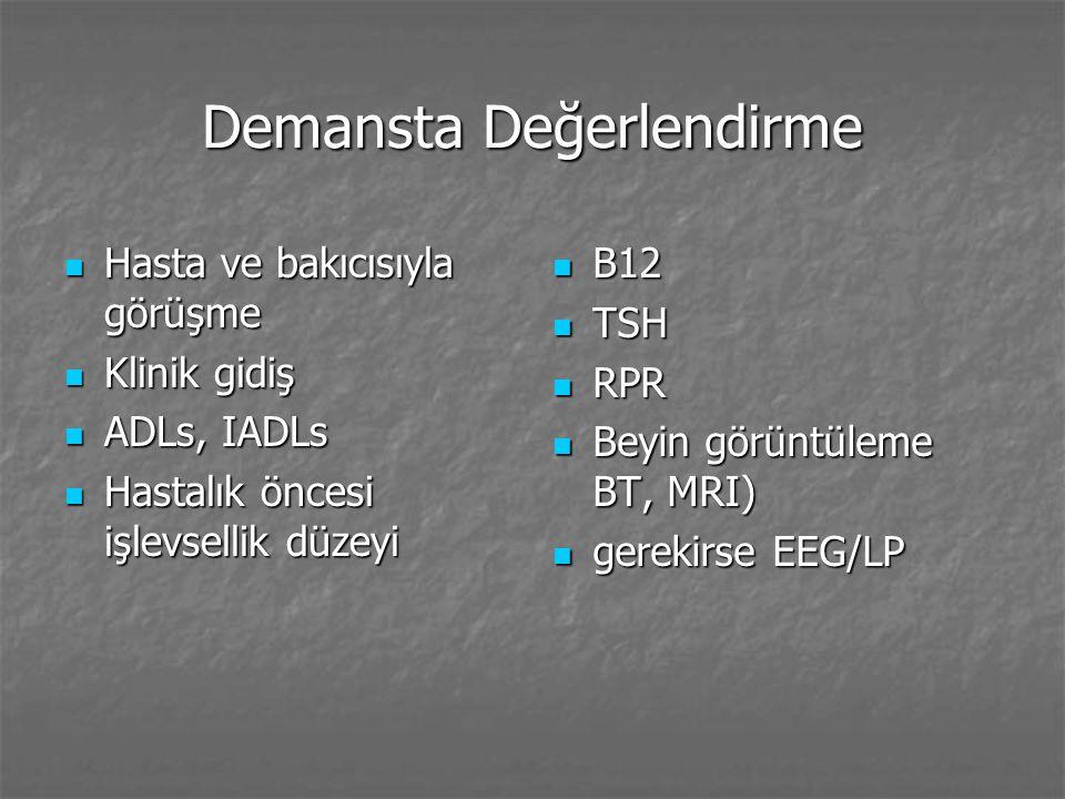 Demasta Psikoz Varsanı yaygınlığı %30 Varsanı yaygınlığı %30 Varsanılar daha çok hızlı ilerleyen Alzheimer ile bağlantılı Varsanılar daha çok hızlı ilerleyen Alzheimer ile bağlantılı Hastaların %25'inde yanlış algılamalar vardır.
