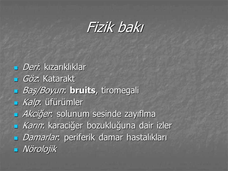 Nörolojik bakı Fokal x yaygın süreç Fokal x yaygın süreç Derin tendon refleksleri, ton, duyum Derin tendon refleksleri, ton, duyum Arka kordon Arka kordon Serebellar işlevler Serebellar işlevler