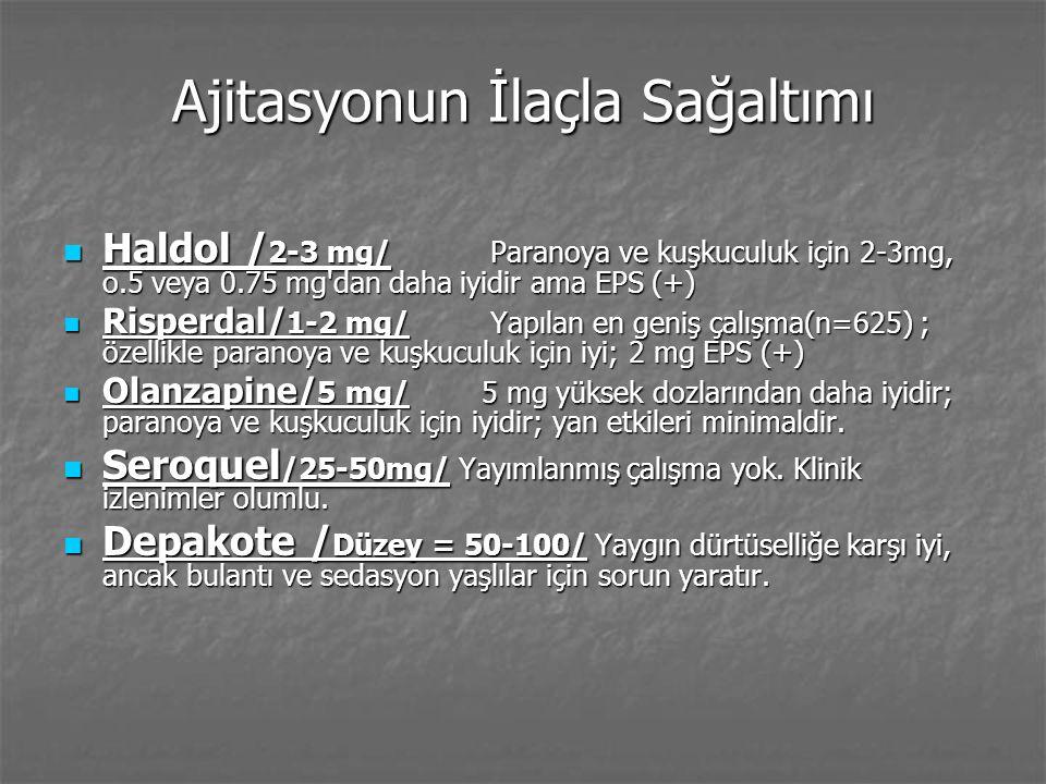 Demanstaki diğer sağaltımlar Antidepresanlar Antidepresanlar Benzodiazepinleri az kullanın- sedasyon, paradoksik ajitasyon/stimulation Benzodiazepinleri az kullanın- sedasyon, paradoksik ajitasyon/stimulation Benzo.
