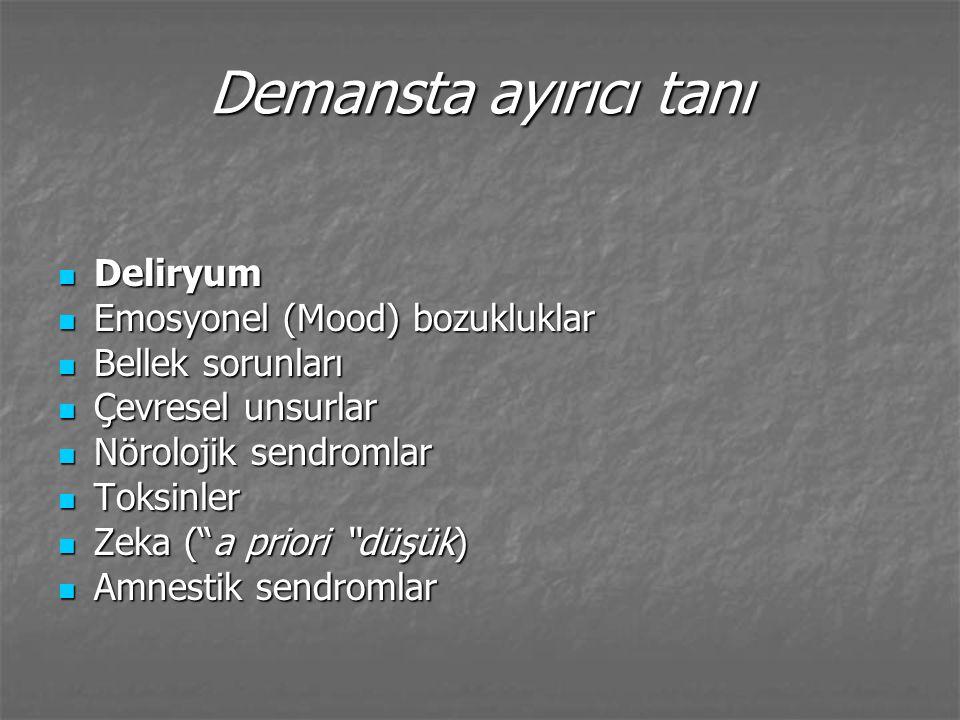 Deliryum Akut başlayan konfüzyon halidir Akut başlayan konfüzyon halidir Biliş, duygudurum, dikkat, uyanıklık ve farkındalık işlevlerinde dalgalanan bir bozukluk.