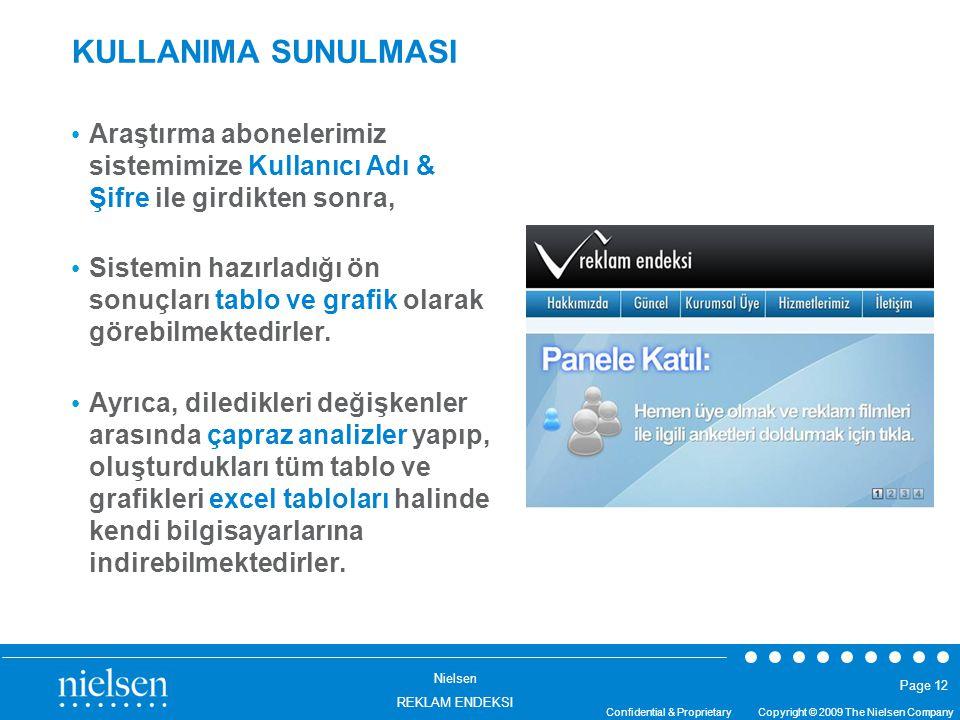 Nielsen REKLAM ENDEKSI Confidential & Proprietary Copyright © 2009 The Nielsen Company Page 12 KULLANIMA SUNULMASI Araştırma abonelerimiz sistemimize