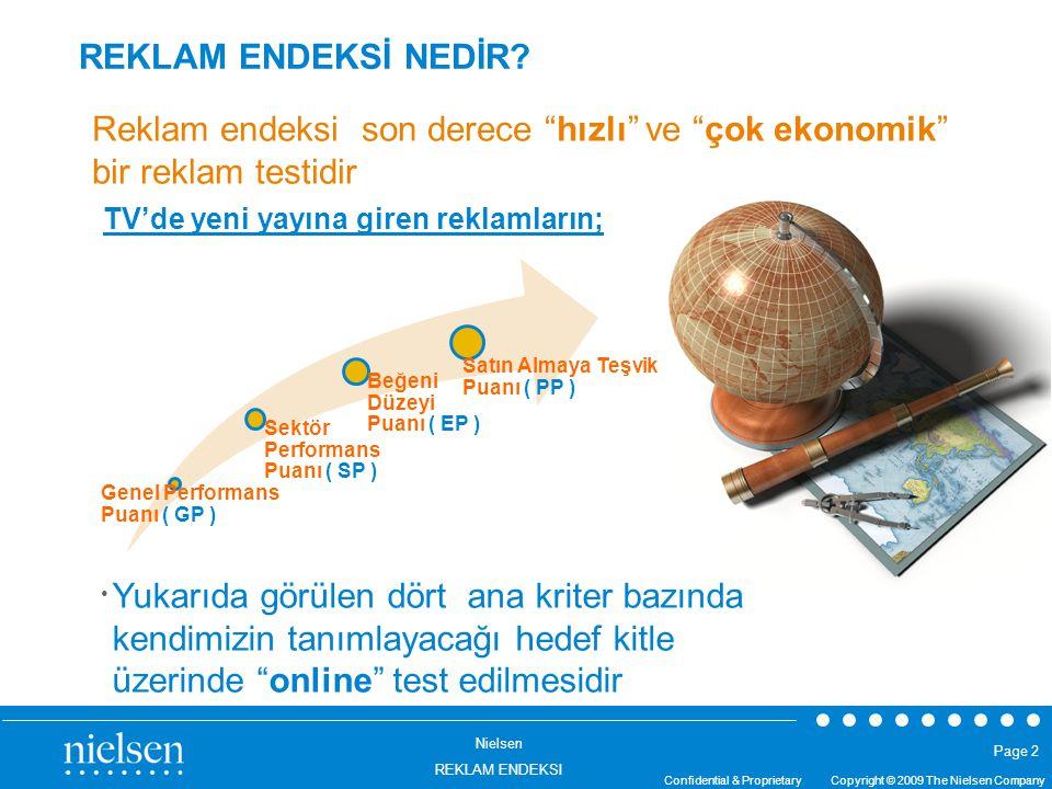 Nielsen REKLAM ENDEKSI Confidential & Proprietary Copyright © 2009 The Nielsen Company Page 2 REKLAM ENDEKSİ NEDİR? TV'de yeni yayına giren reklamları