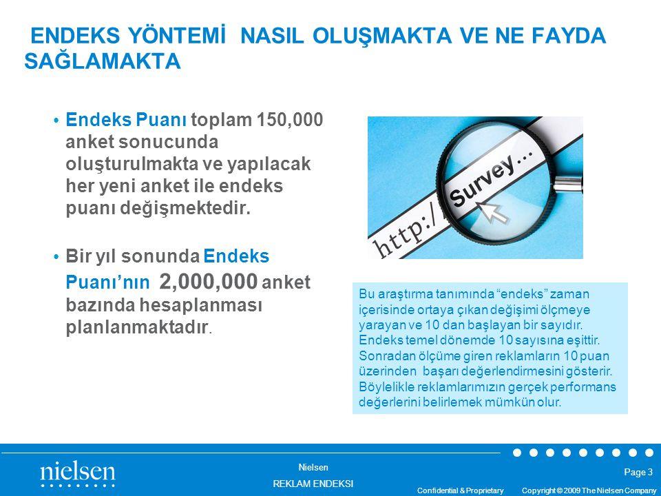 Nielsen REKLAM ENDEKSI Confidential & Proprietary Copyright © 2009 The Nielsen Company Page 3 ENDEKS YÖNTEMİ NASIL OLUŞMAKTA VE NE FAYDA SAĞLAMAKTA En