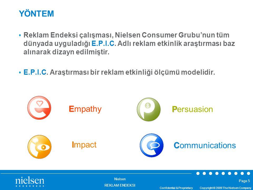 Nielsen REKLAM ENDEKSI Confidential & Proprietary Copyright © 2009 The Nielsen Company Page 5 YÖNTEM Reklam Endeksi çalışması, Nielsen Consumer Grubu'