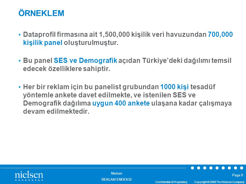 Nielsen REKLAM ENDEKSI Confidential & Proprietary Copyright © 2009 The Nielsen Company Page 9 ÖRNEKLEM Dataprofil firmasına ait 1,500,000 kişilik veri