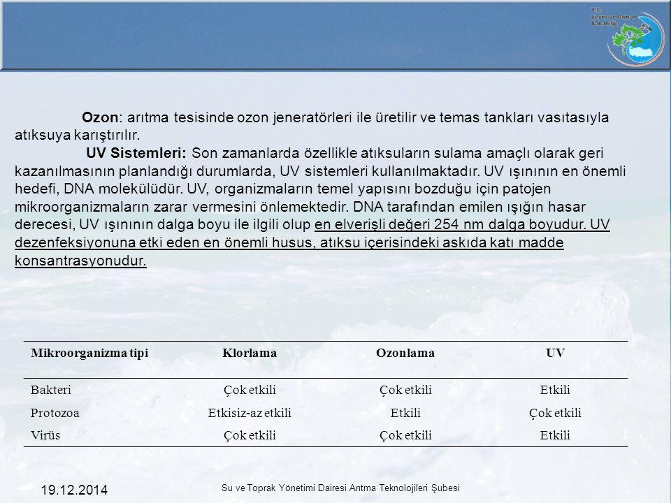 19.12.2014 Su ve Toprak Yönetimi Dairesi Arıtma Teknolojileri Şubesi Ozon: arıtma tesisinde ozon jeneratörleri ile üretilir ve temas tankları vasıtası