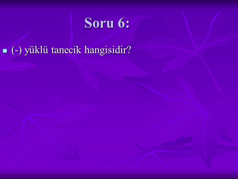 Soru 6: (-) yüklü tanecik hangisidir? (-) yüklü tanecik hangisidir?