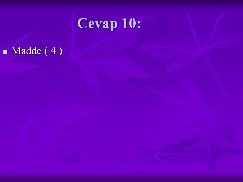 Cevap 10: Madde ( 4 ) Madde ( 4 )