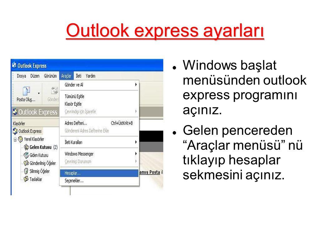 Outlook express ayarları Windows başlat menüsünden outlook express programını açınız.