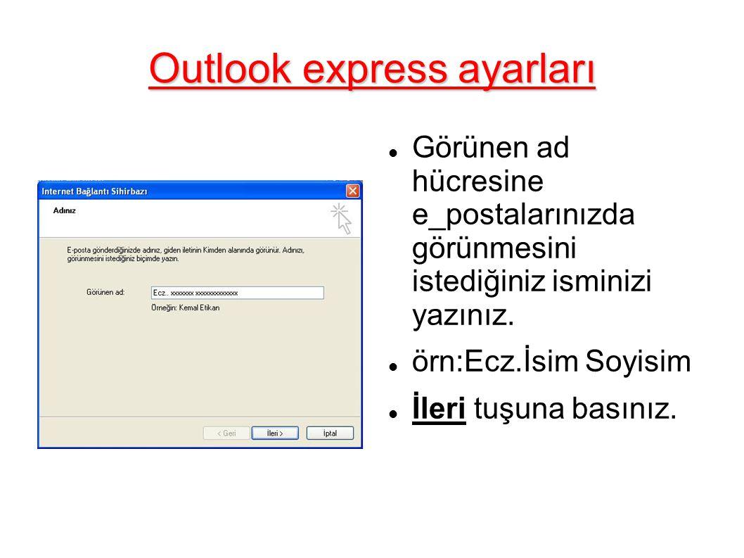 Outlook express ayarları Görünen ad hücresine e_postalarınızda görünmesini istediğiniz isminizi yazınız.