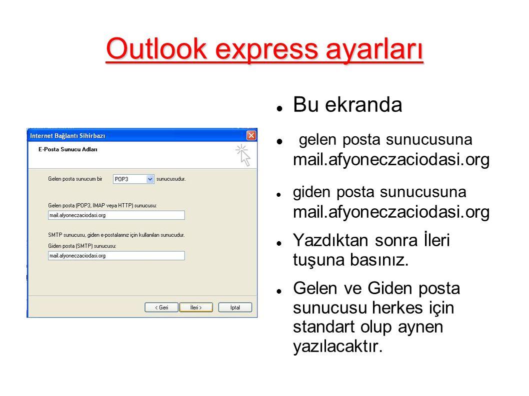 Outlook express ayarları Bu ekranda gelen posta sunucusuna mail.afyoneczaciodasi.org giden posta sunucusuna mail.afyoneczaciodasi.org Yazdıktan sonra İleri tuşuna basınız.