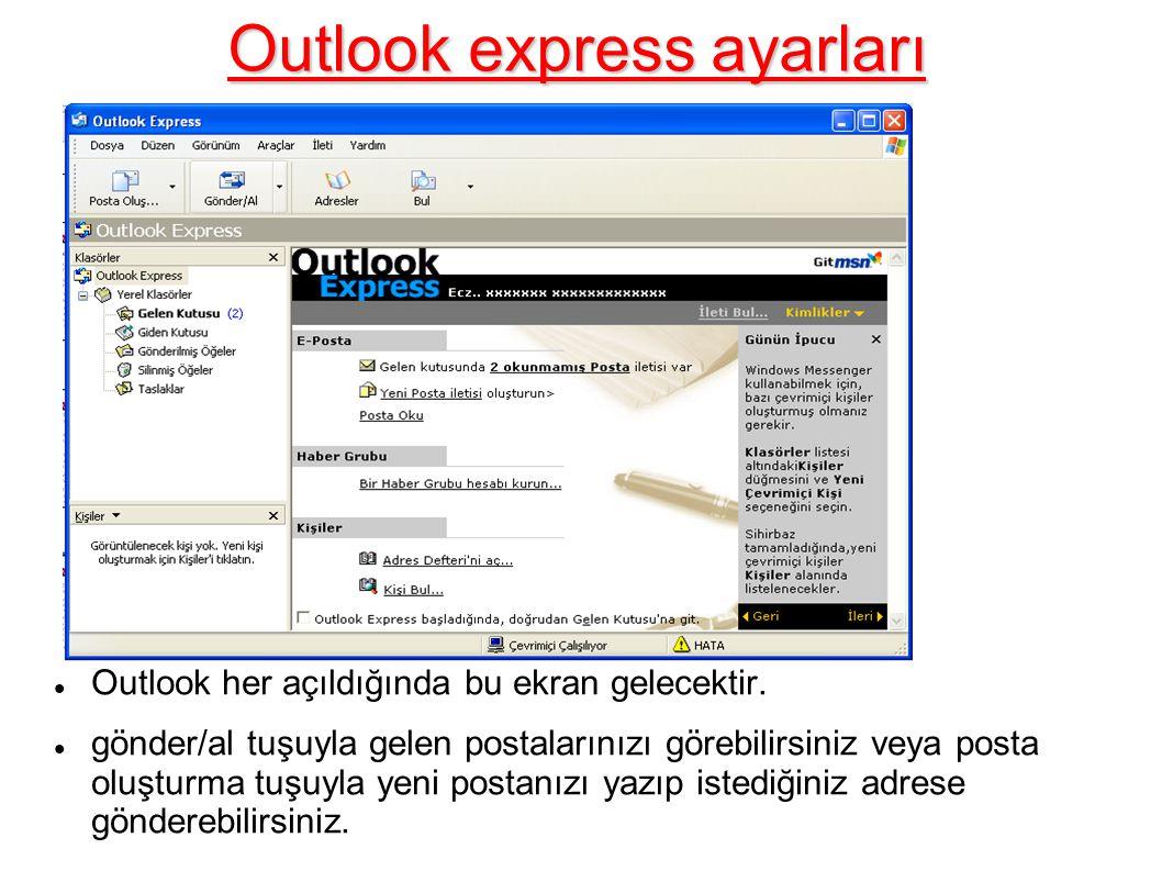 Outlook express ayarları Outlook her açıldığında bu ekran gelecektir.