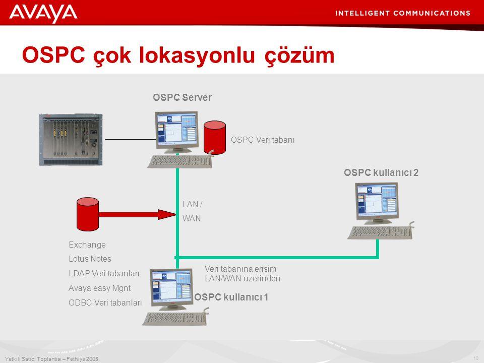 10 Yetkili Satıcı Toplantısı – Fethiye 2008 OSPC çok lokasyonlu çözüm OSPC Veri tabanı OSPC Server Exchange Lotus Notes LDAP Veri tabanları Avaya easy Mgnt ODBC Veri tabanları LAN / WAN OSPC kullanıcı 2 Veri tabanına erişim LAN/WAN üzerinden OSPC kullanıcı 1