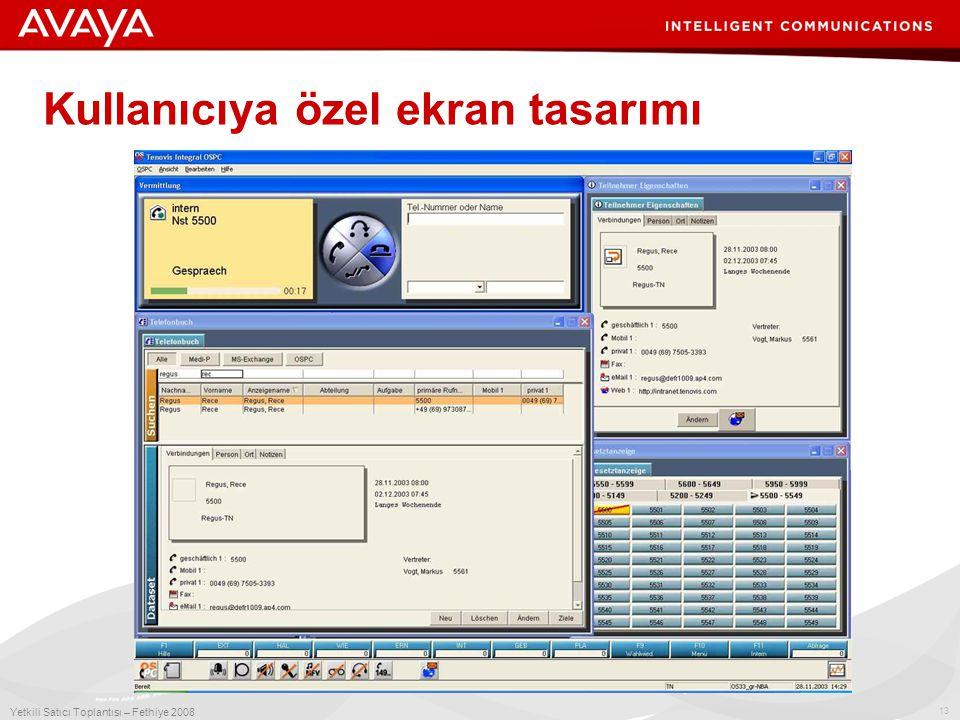 13 Yetkili Satıcı Toplantısı – Fethiye 2008 Kullanıcıya özel ekran tasarımı