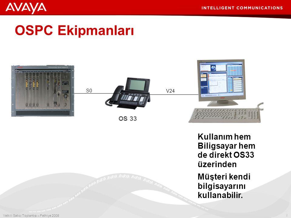 2 Yetkili Satıcı Toplantısı – Fethiye 2008 OS 33 OSPC Ekipmanları S0 V24  Kullanım hem Biligsayar hem de direkt OS33 üzerinden  Müşteri kendi bilgisayarını kullanabilir.