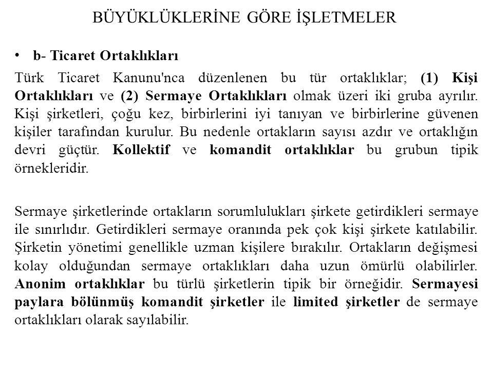 b- Ticaret Ortaklıkları Türk Ticaret Kanunu'nca düzenlenen bu tür ortaklıklar; (1) Kişi Ortaklıkları ve (2) Sermaye Ortaklıkları olmak üzeri iki gruba
