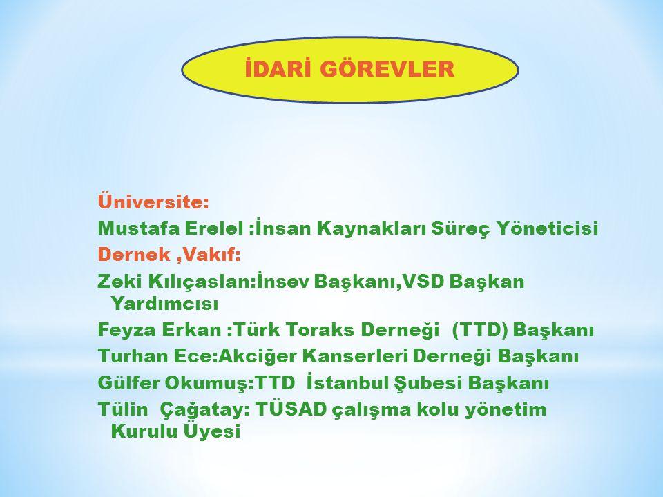 Üniversite: Mustafa Erelel :İnsan Kaynakları Süreç Yöneticisi Dernek,Vakıf: Zeki Kılıçaslan:İnsev Başkanı,VSD Başkan Yardımcısı Feyza Erkan :Türk Tora