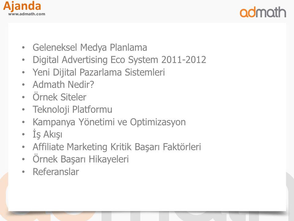 Geleneksel Medya Planlama Digital Advertising Eco System 2011-2012 Yeni Dijital Pazarlama Sistemleri Admath Nedir? Örnek Siteler Teknoloji Platformu K