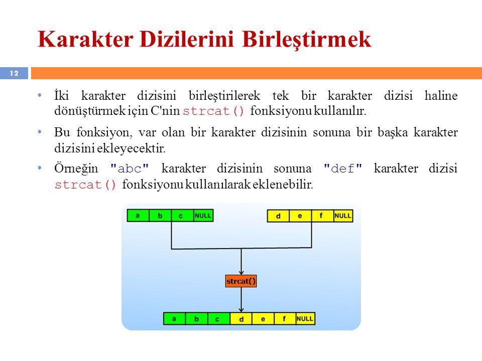 12 Karakter Dizilerini Birleştirmek İki karakter dizisini birleştirilerek tek bir karakter dizisi haline dönüştürmek için C'nin strcat() fonksiyonu ku